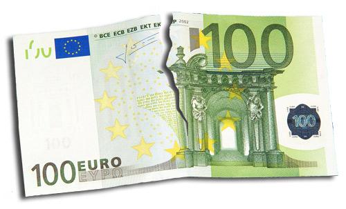 Billet de 100€ déchiré en deux